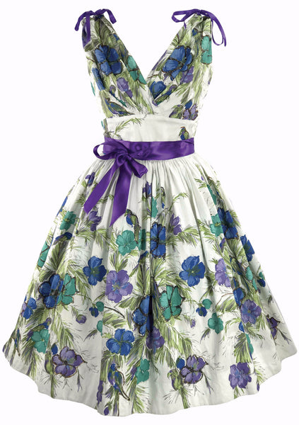 1950's Blue, Turquoise & Lilac Floral Print Cotton Dress - New!