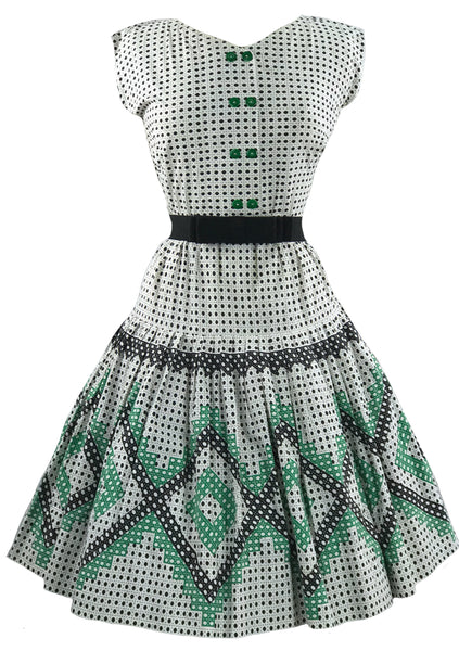Vintage 1950s Green & Black Geometric Novelty Print Dress- New!