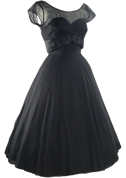 Vintage 1950s Black Organza Dress - New!