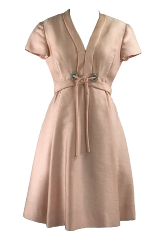 Vintage 1960s Ice Pink Silk Designer Dress- New! (ON HOLD)