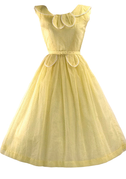 Vintage 1950s Yellow Swiss Dot Summer Dress - New!