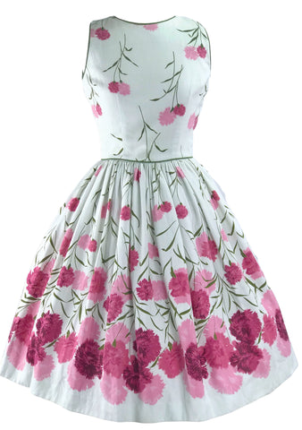 ae86889f91d Vintage 1950s Pink Carnations Pique Dress - New!
