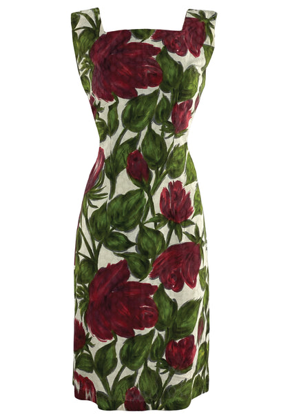 Late 1950s Early 1960s Red Rose Sheath Dress - New!
