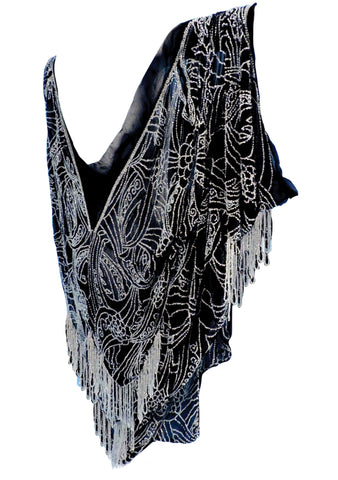1920s Black Silk Chiffon Beaded Cape Jacket- New!