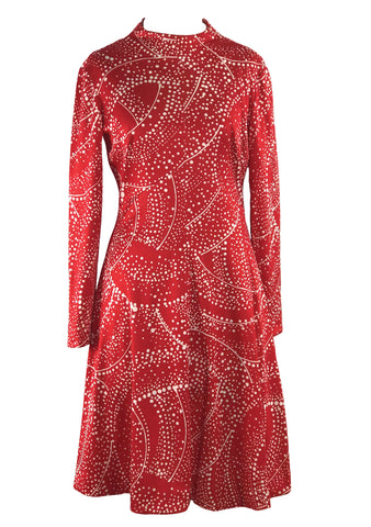 Vintage 1960s Emilio Borghese Red Space Age Dress - New!