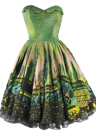 Vintage 1950s Mexican Scenic Print Cotton Sundress - New!