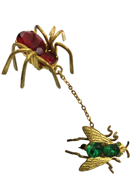 Vintage 1950s 3D Spider and Fly Novelty Brooch - New!