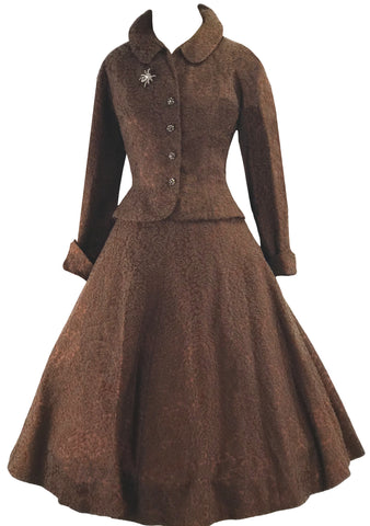 1950s Designer Bronze Lace Dress Suit- New! (ON HOLD)