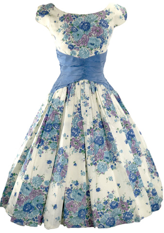 1950s Blue & Lilac Bouquet Taffeta Party Dress  - New