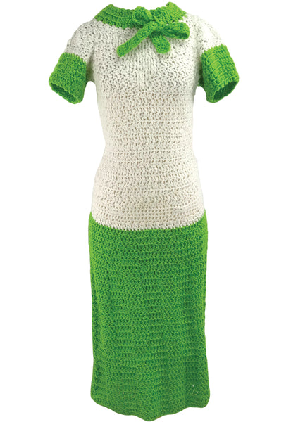 Vintage 1960s does 1930s Crochet Dress  - New!