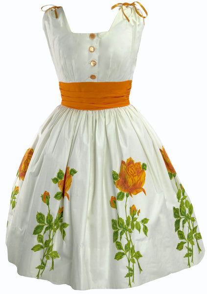 1950s Ivory Polished Cotton with Orange Roses Dress - New!