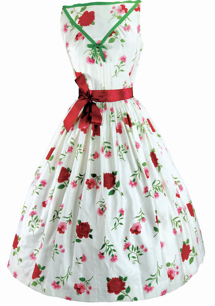 1950s Pink/Red Carnations & Roses on White Cotton Dress  - New!