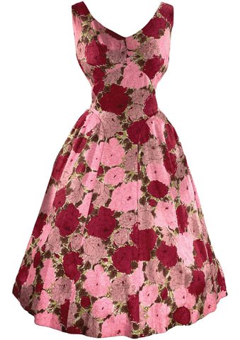 Stunning 1950s Silk Rose Print Dress- New!