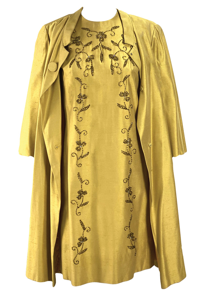 Vintage 1960s Gold Beaded Sheath Party Dress and Coat Ensemble - New!
