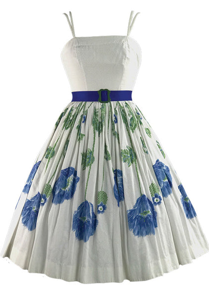Vintage 1950s Ivory Dress with Blue Floral Border - New!