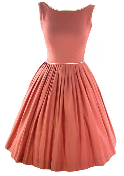 Early 1960s Coral Pink Cotton Dress- New!