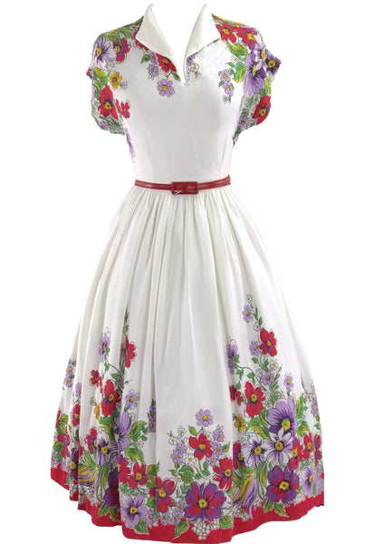 Early 1940s Ivory Floral Cotton Blend Border Print Dress- New!