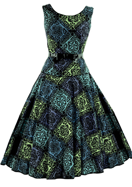 Vintage 1950s Novelty Lino Print Cotton Dress - New!