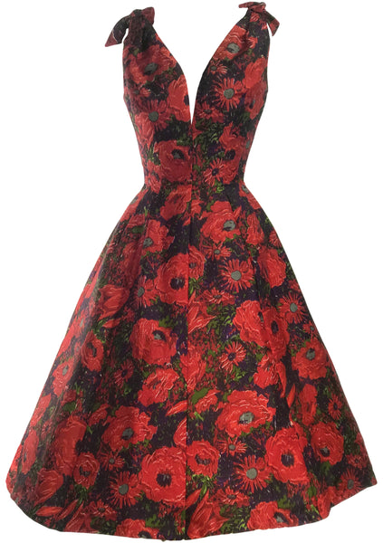 Late 1950s Early 1960s Red Floral Silk Designer Party Dress- New!