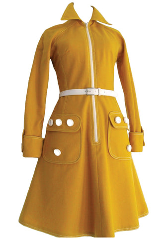 Vintage 1960s Yellow Wool Couture Space Age Dress  - New!