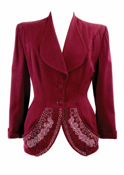 Vintage 1940s Couture Lilli Ann Burgundy Beaded Jacket- New!