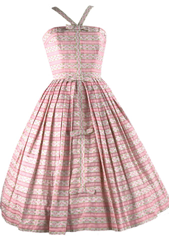 Gorgeous 1950s Pink Cotton Pat Premo Designer Dress- New!