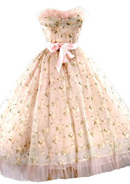 1950's Pink Flocked Floral Chiffon Party Dress - New ! (Layby)