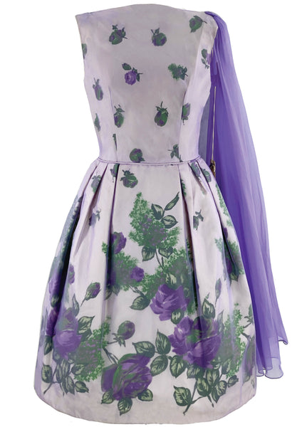 Early 1960s Purple Roses Overlay Dress New!