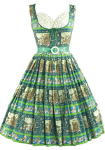 Late 1950s Scenic French Novelty Print Cotton Dress- New!