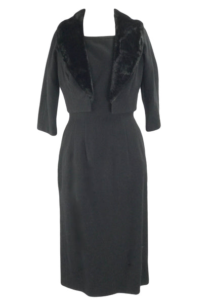 Sophisticated 1950s Black Wool Dress & Jacket Ensemble -New!