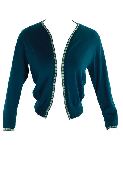 Vintage 1950s Prussian Blue Cardigan- New! (ON HOLD)