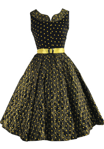 1950s Australian Designer Black & Gold Polka Dot Dress- New!