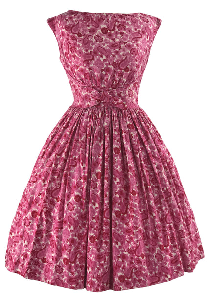 Vintage 1950s Pink Swirl Cotton Gay Gibson Dress- New!