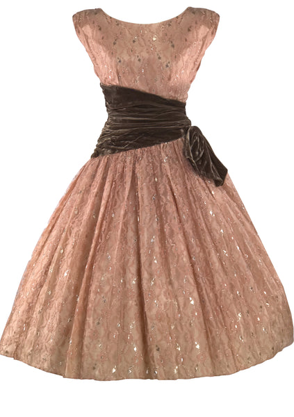 1950s Mushroom Pink Lace Party Dress with Silver Thread - New!