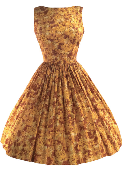 Gorgeous 1950s Rose Gold Abstract Floral Dress- New!