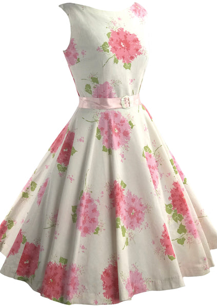 1950s Pink Hydrangeas Jerry Gilden Designer Dress - New!