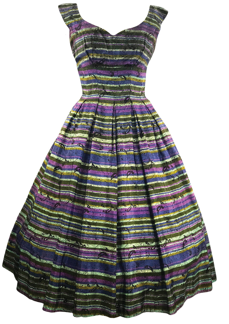 Vintage 1950s Striped Taffeta Dress Ensemble- New!