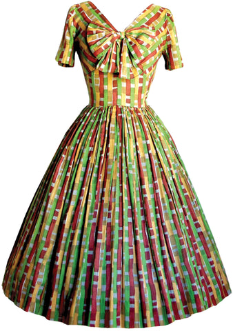 Vintage 1950s Multi-Coloured Block Print Cotton Dress  - New!
