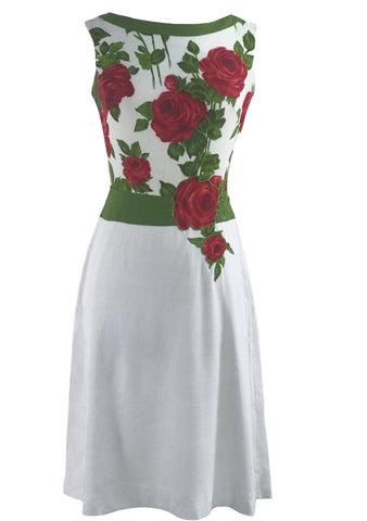 Vintage 1960s White Linen Dress with Red Roses- New! (RESERVED)