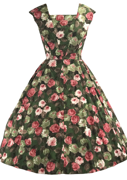 Lovely 1950s Roses Polished Cotton Dress- New!