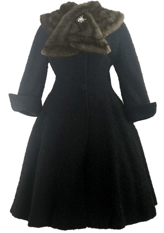 1950s Designer Lilli  Ann Black Boucle Princess Coat- New!