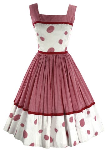 1950s Red & White Gingham Applique Dress- New!