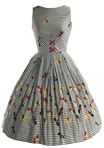 Vintage 1950s Bees Novelty Print Cotton Dress - New!