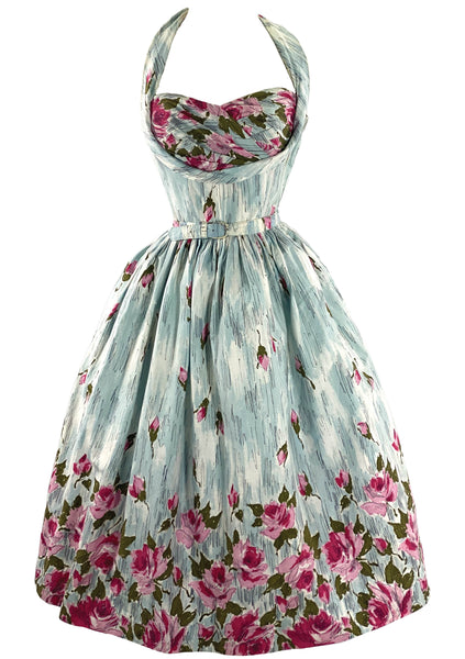 Sensational 1950s Pink Roses Halter Sundress- New!