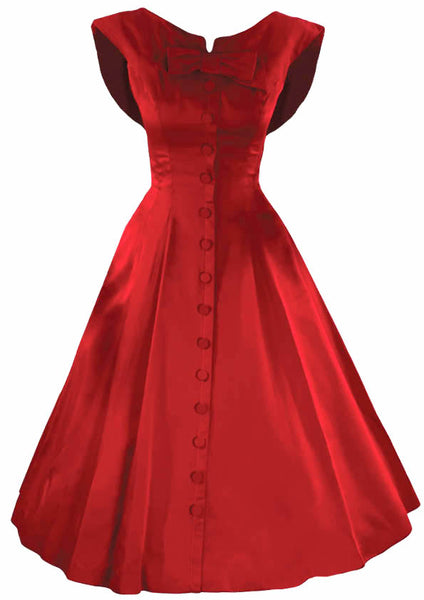 1950s Designer Red Silk Satin New Look Cocktail Dress New!
