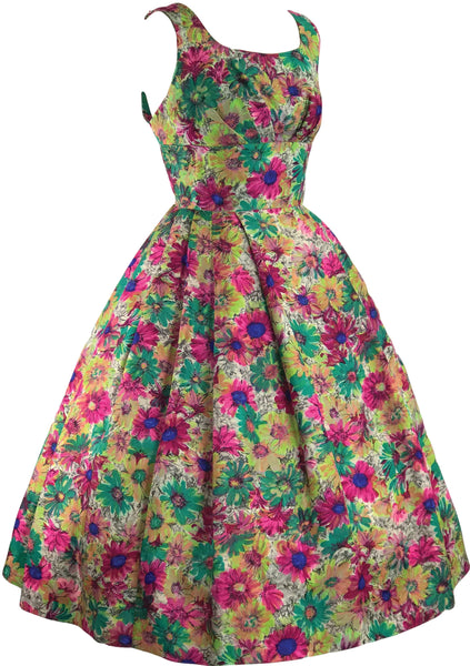 Vintage 1950s Painterly Floral Silk Party Dress - New!