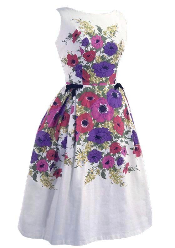 Late 1950s Anemone Border Print Pique Cotton Dress- New!