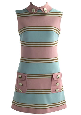 Outstanding 1960s Pink and Blue Space Age Dress - New!