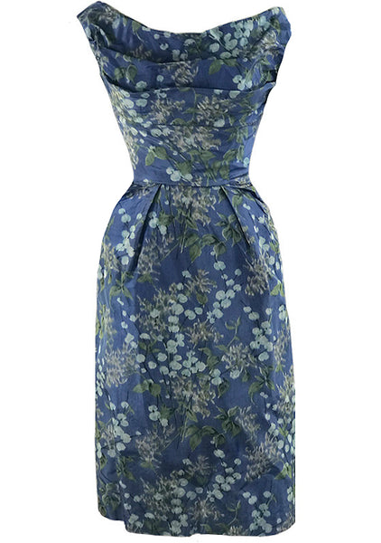 Sensational 1950s Draped Blue Floral Silk Cocktail Dress - New!