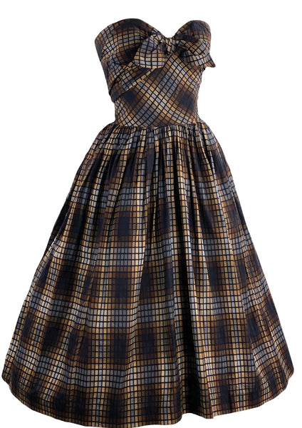 Late 1950s Early 1960s Designer Frank Usher Strapless Cotton Dress - New!